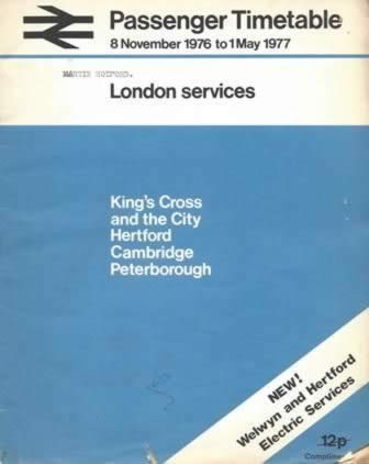 Passenger Timetables 8 November 1976 To 1 May 1977 London Services