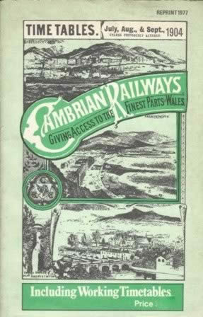 Cambrian Railways Timetable July/Aug/Sep 1904