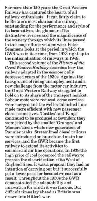 History of the GWR - 1: Consolidation 1923-29, 2:The Thirties 1930-39, 3:Wartime & Final Years 1939-48