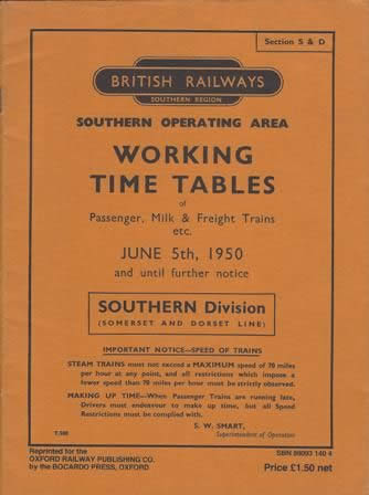 British Railways Southern Operating Area: Working Time Tables