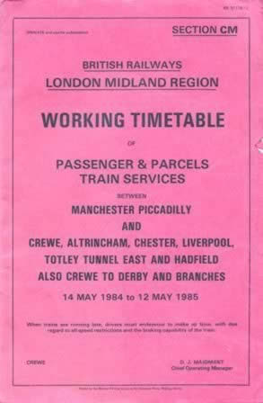 British Railways - LMR - Working Timetable (Ex Manchester Picadilly) 14/05/84 - 12/05/85